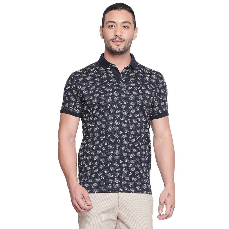 Mufti Navy Floral Printed Half Sleeves Polo T-Shirt