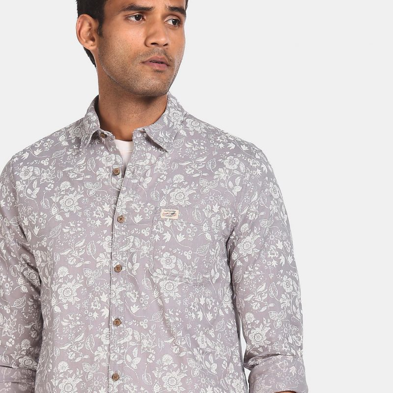 US Polo Association Men's Regular Grey Print Cotton Casual Shirt