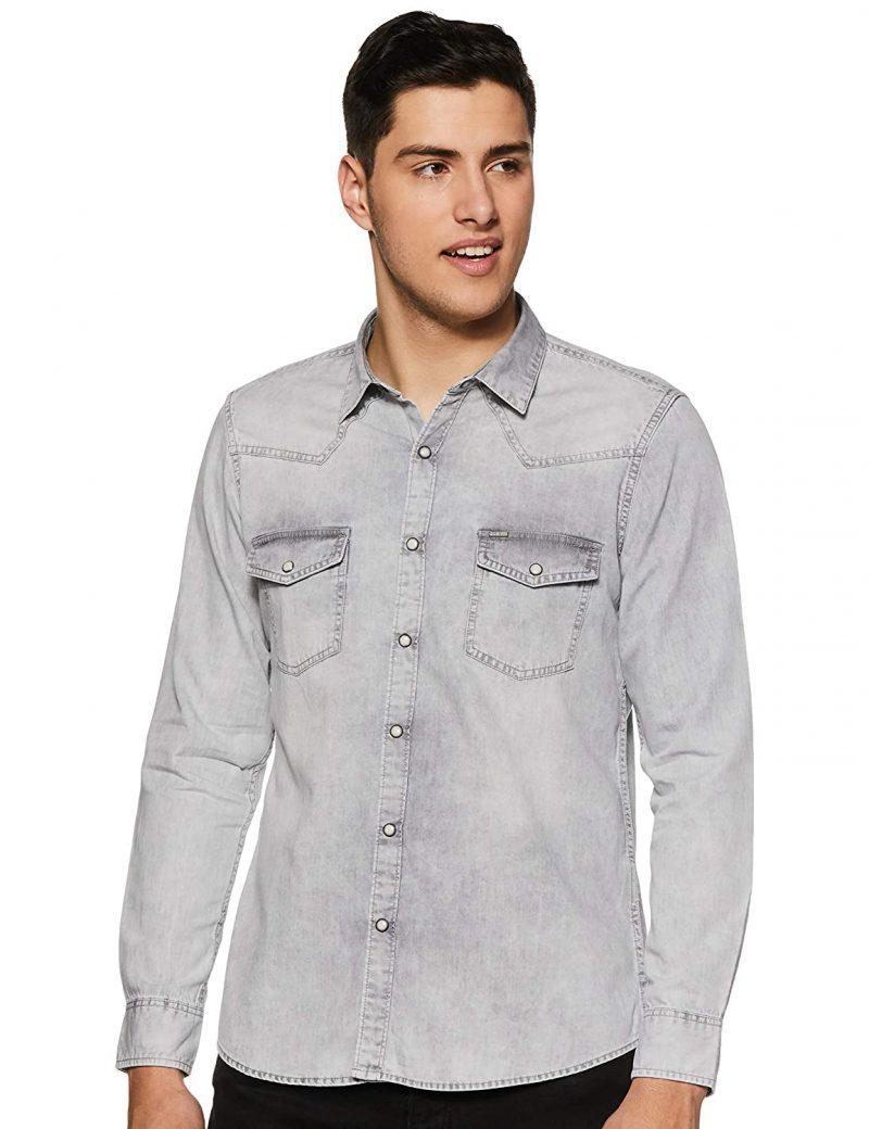 Pepe Jeans Men's Solid Regular fit Casual Shirt