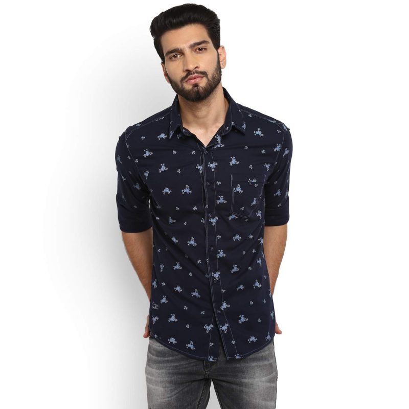 Mufti Slim Fit Floral Prints Full Sleeve Shirt
