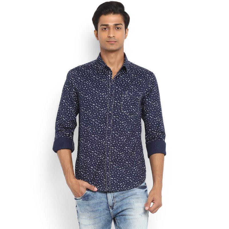 Mufti Ditsy Print Navy Full Sleeve Slim Fit Shirt