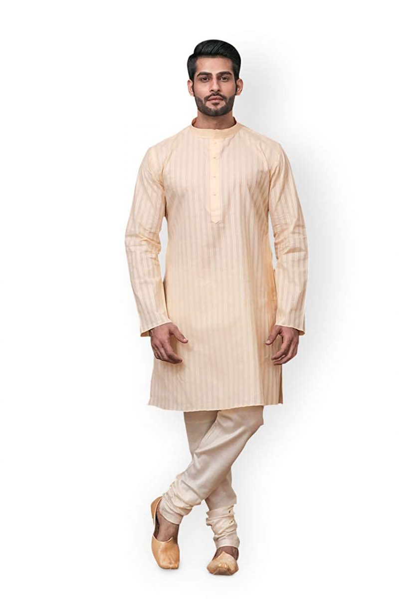 Off-White kurta with mandarin collar