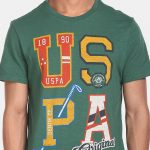 U.S. Polo Assn. Denim Co. Men Dark Green Crew Neck Graphic Print T-Shirt