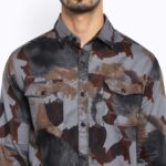 Mufti Camouflague Grey Full Sleeves Double Pocket Shirt