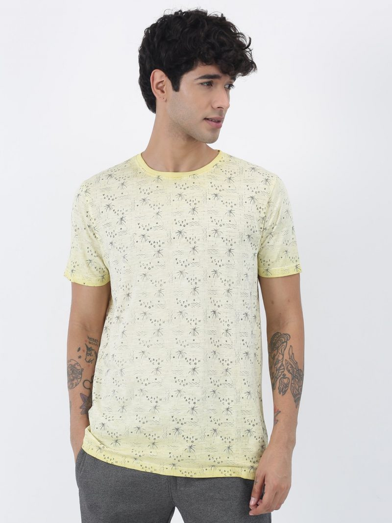 Red Flame Yellow Printed Short Sleeve Casual T-Shirt