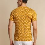 Red Flame Mustard Printed Stretch T-Shirt