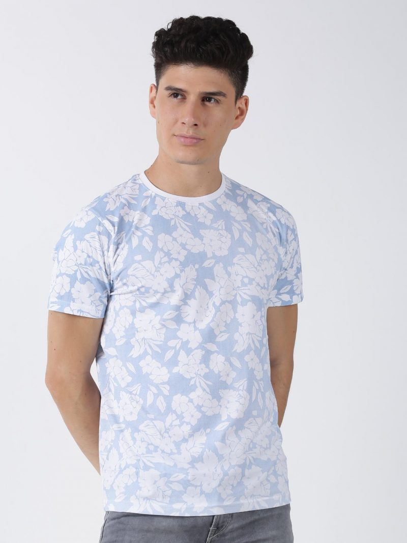Red Flame Blue Printed Short Sleeve Casual T-Shirt