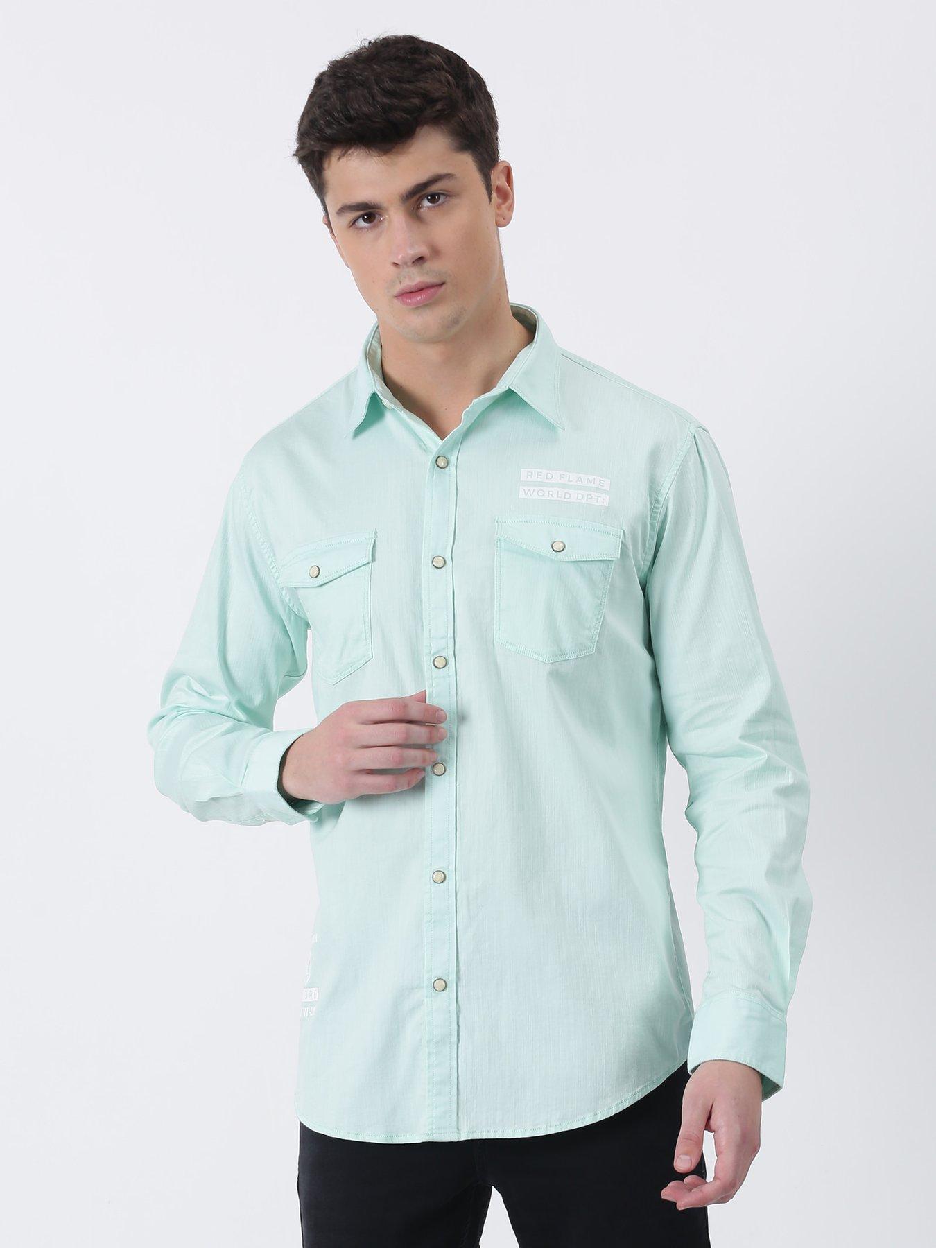 Red Flame Green Plain Long Sleeve Street Wear Shirt