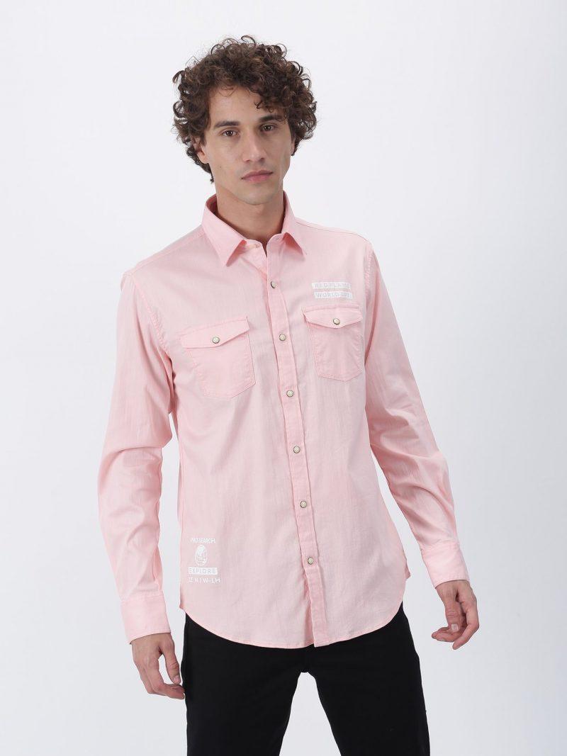 Red Flame Pink Plain Long Sleeve Street Wear Shirt