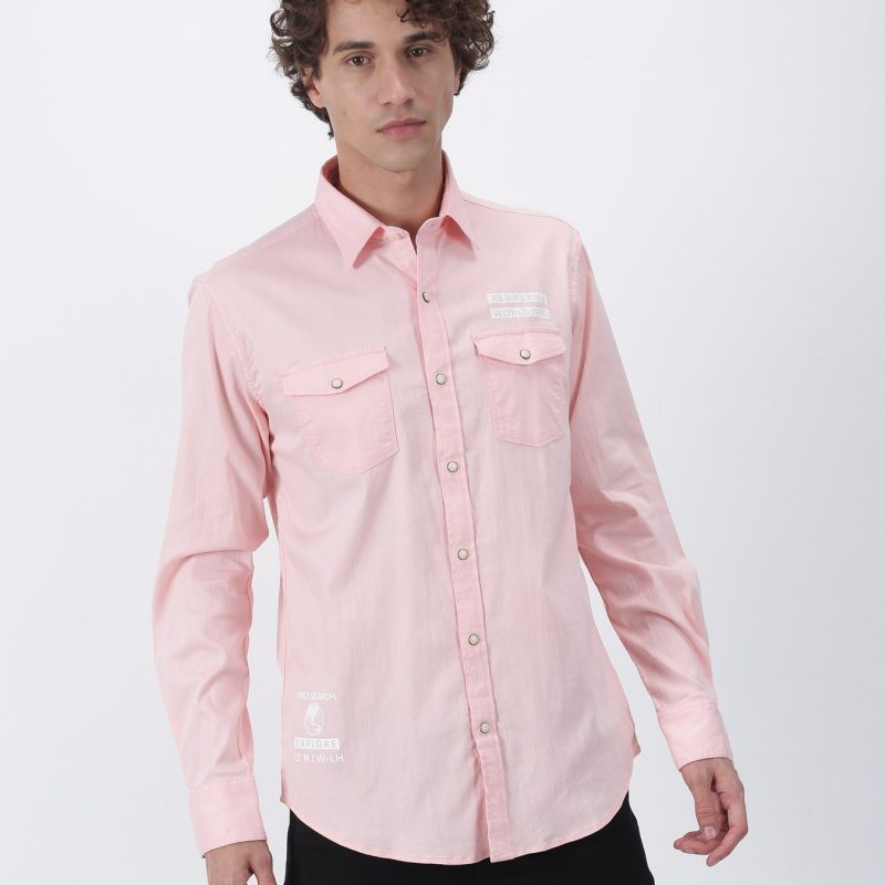 Red Flame Pink Plain Long Sleeve Street Wear Shirt