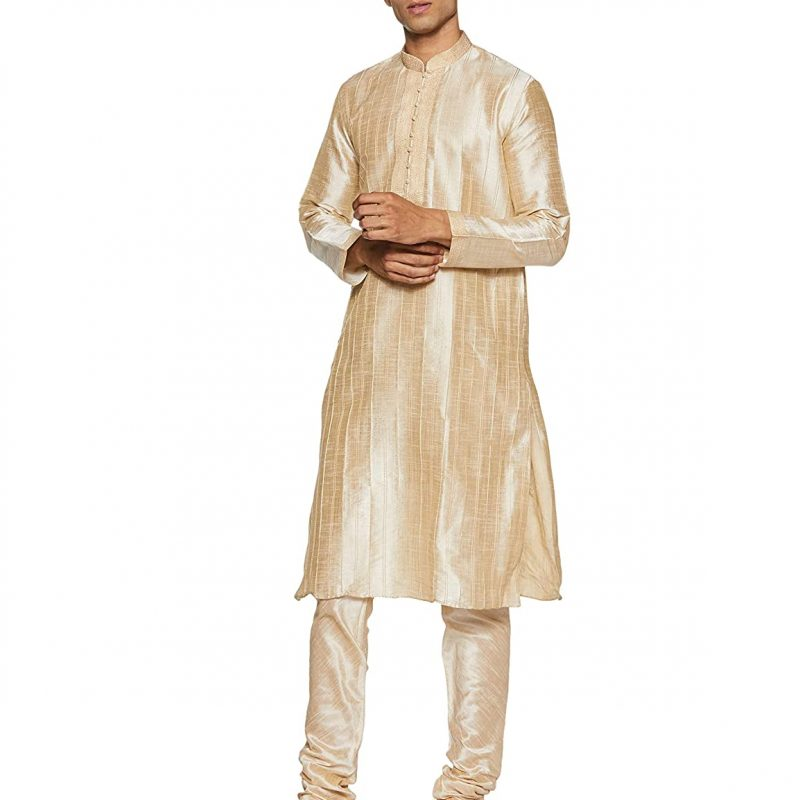 Manyavar Men's Full Sleeve Blended Kurta & Churidar Set