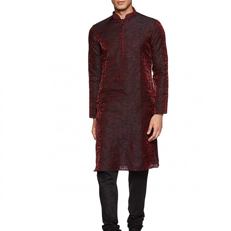 Manyavar Men's Blended Kurta & Churidar Set