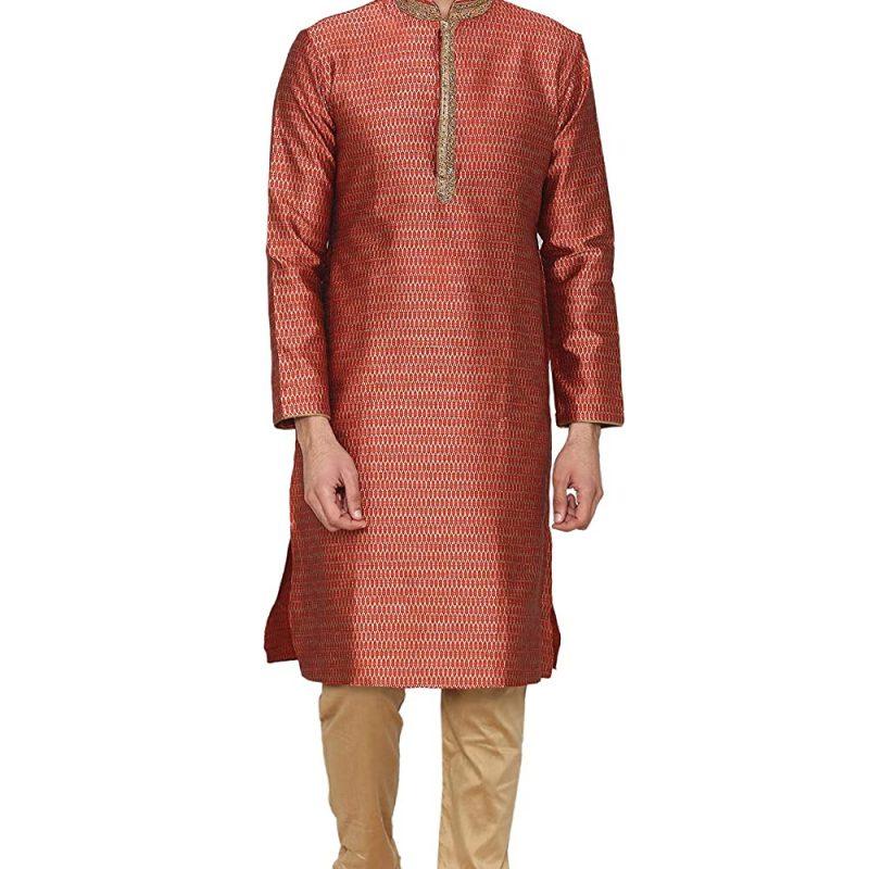 Manyavar Men's Regular Fit Kurta & Churidar Set
