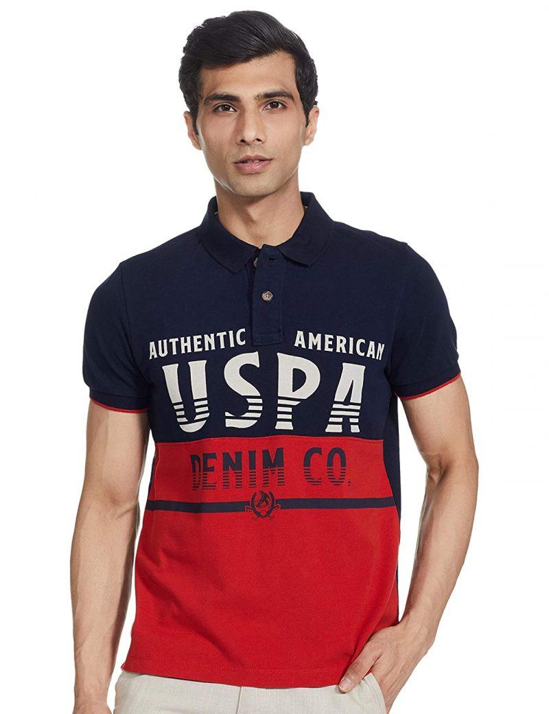 USPA Men's Solid Regular T-Shirt