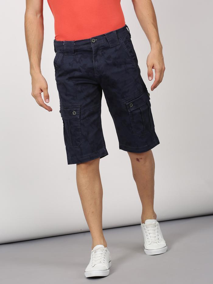 Navy Printed Stretch Cargo Shorts