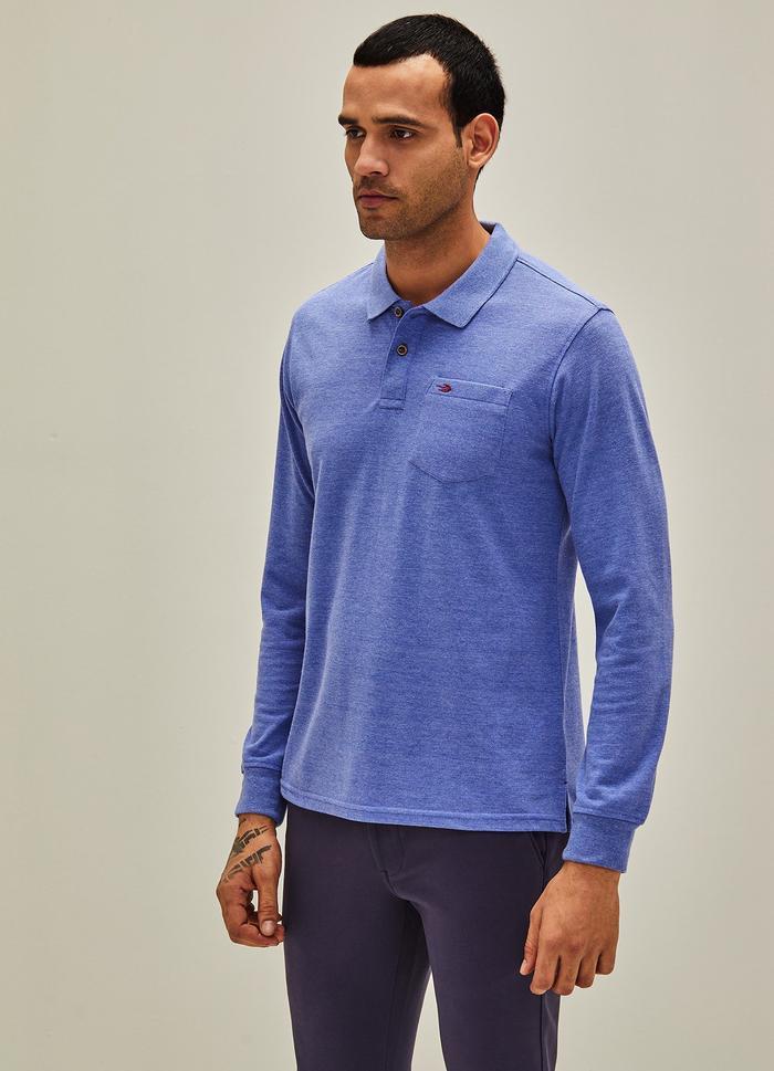 Blue Melange Plain Polo