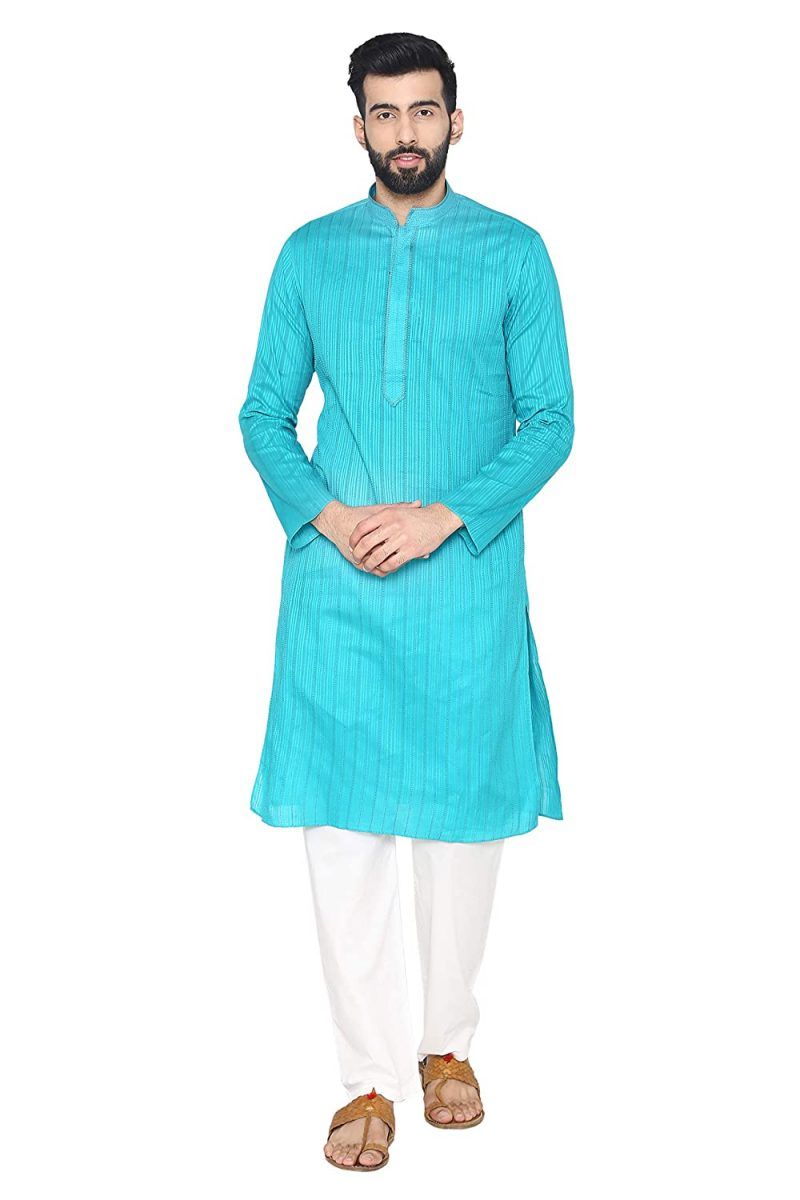 Manyavar Men's Blended Kurta & Pyjama Set (M301056)