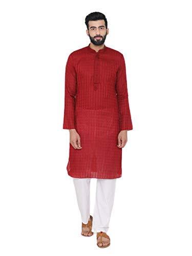Manyavar Self Design Kurta Set in Red and White