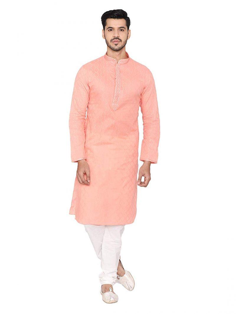 Manyavar Elegant SelfDesign Kurta and Churidar Set For Men