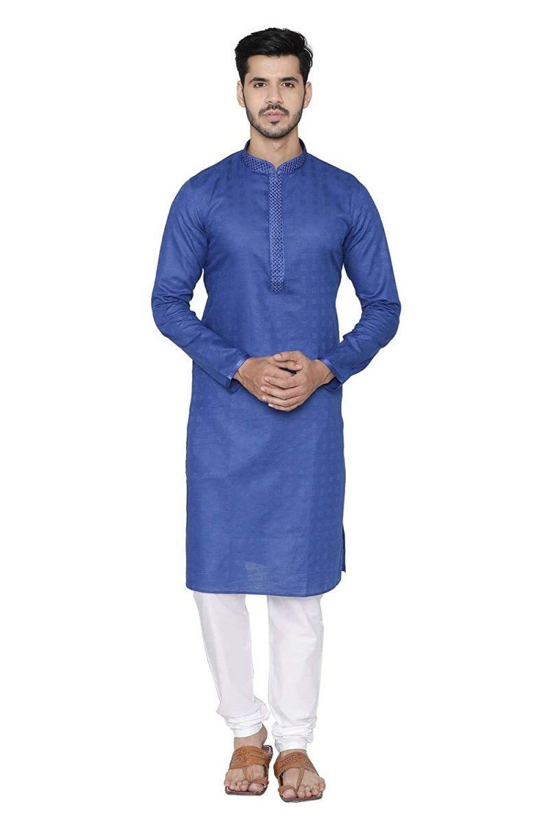 Manyavar Self Design Knee Long Full Sleeves Kurta and Churidar Set For Men