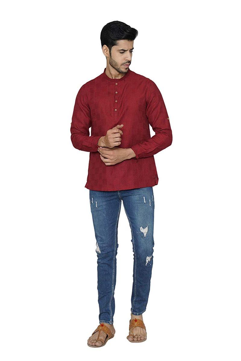 Manyavar Men's Silk Blend Regular only Short Kurta