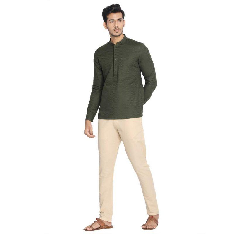 Manyavar Self Design Elegant Short Kurta for Men