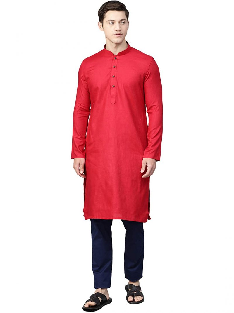 Manthan Solid Plain Full Sleeves Casual Wear Kurta for Men