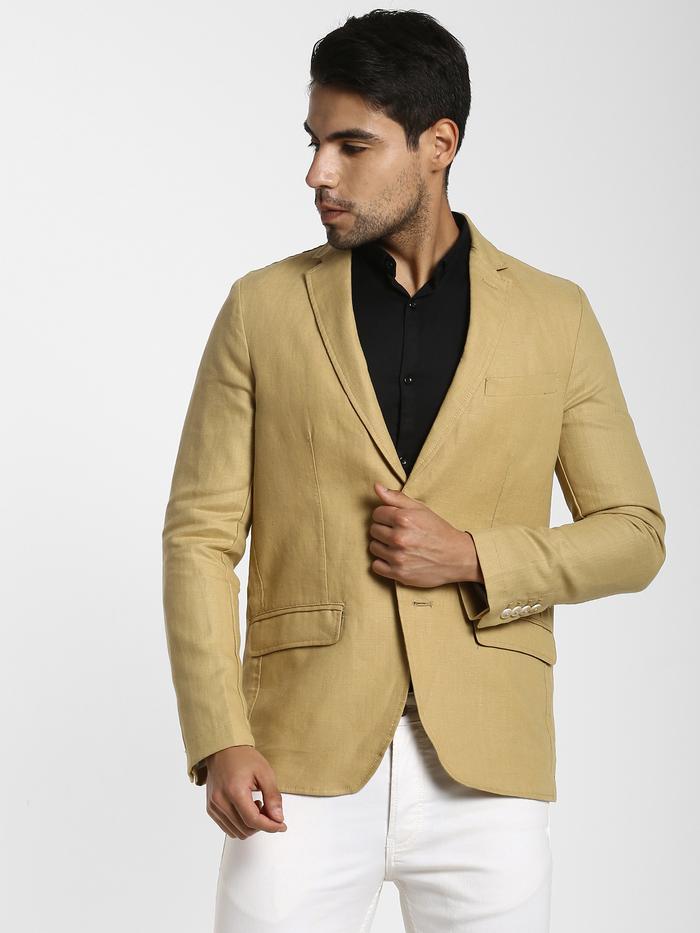 Khaki Plain Linen Blazer