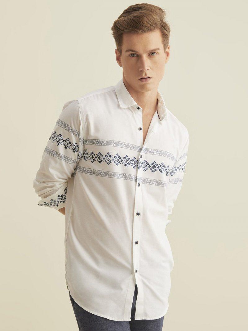 White Chest Print Shirt