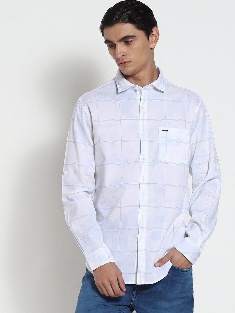 Red Flame White Printed Stretch Casual Shirt