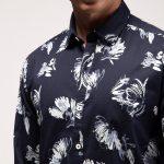 Navy Stretch Printed Shirt