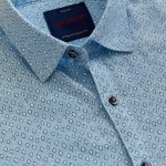 Red Flame Blue Printed Shirt