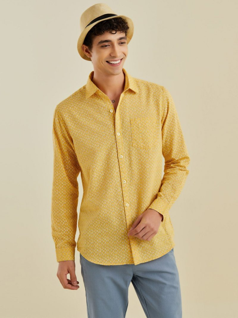 Red Flame Yellow Printed Shirt