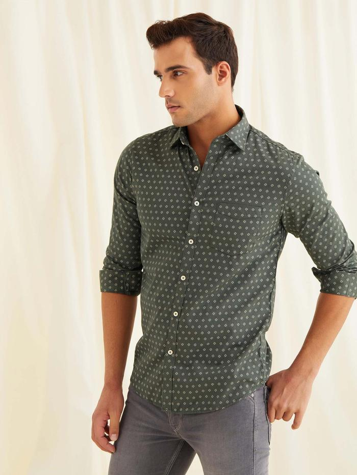 Green Printed Shirt