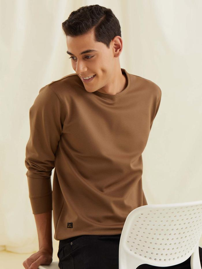 Brown Textured 4-Way Stretch Sweatshirt
