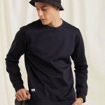 Navy Textured 4-Way Stretch Sweatshirt