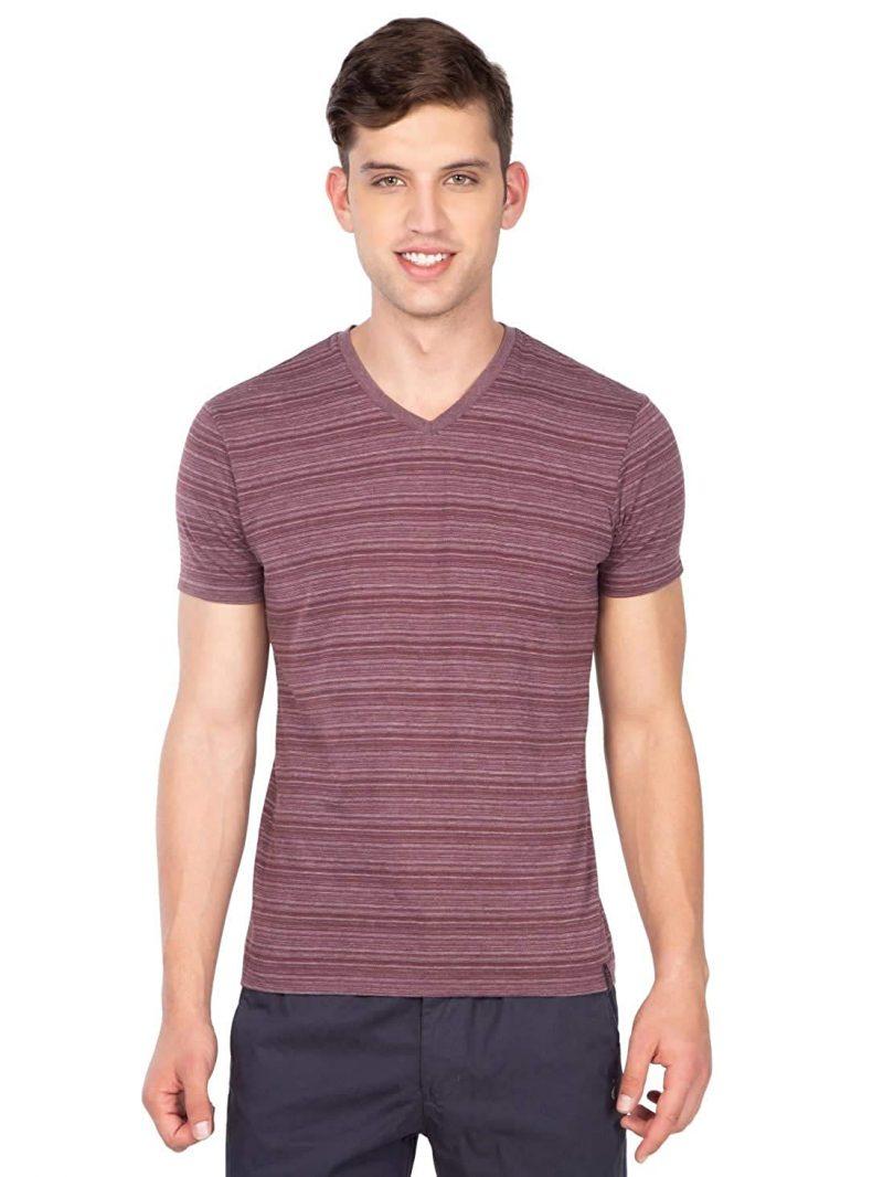 Jockey Men's Striped Regular Fit T-Shirt Mauve Wine
