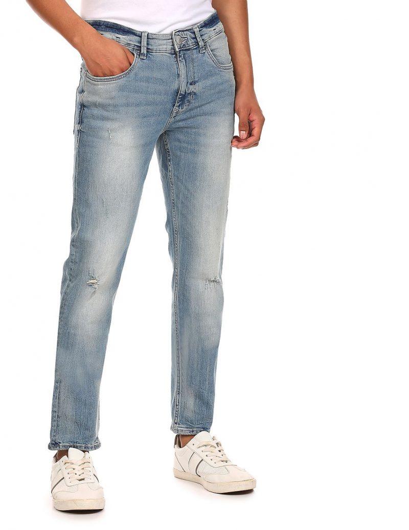 U.S. POLO ASSN. DENIM CO. Men Light Blue Brandon Slim Tapered Fit Washed Jeans